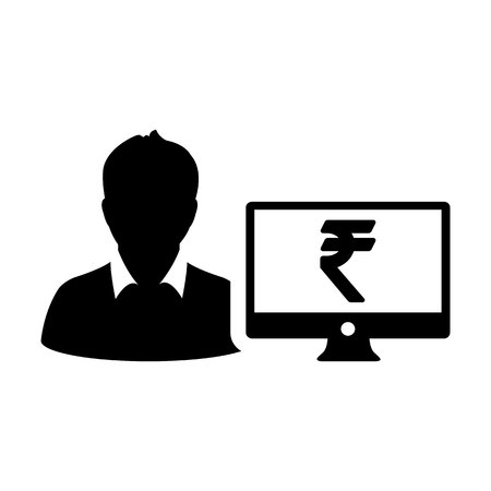 Money icon vector male user person profile avatar with computer monitor and Rupee sign currency symbol for banking and finance in flat color glyph  pictogram illustration