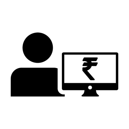 Profit icon vector male user person profile avatar with computer monitor and Rupee sign currency money symbol for banking and finance business in flat  color glyph pictogram illustration Illustration