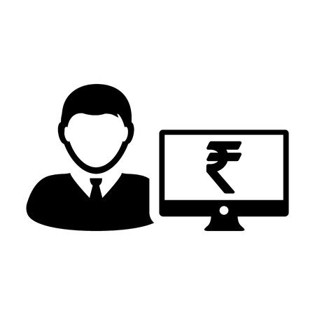 Computer icon vector male person user avatar with monitor screen and Rupee sign in flat color in Glyph Pictogram Symbol illustration