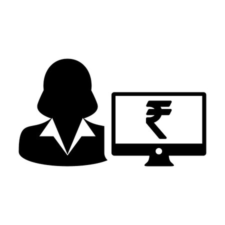 Computer icon vector female person user avatar with monitor screen and Rupee sign in flat color in Glyph Pictogram Symbol illustration