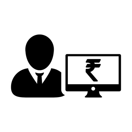 Insurance icon vector male user person profile avatar with computer monitor and Rupee sign currency money symbol for banking and finance business in flat  color glyph pictogram illustration Illustration