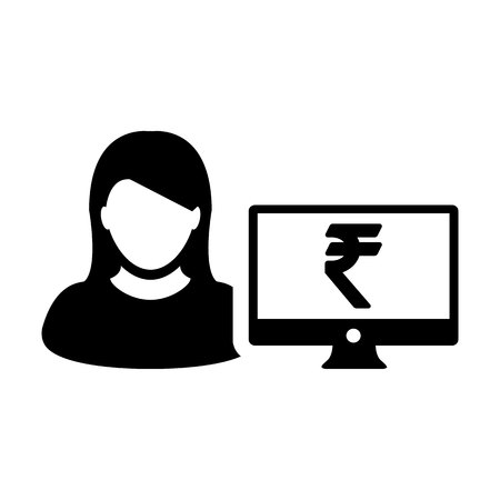 Person icon vector female user avatar with computer monitor screen and Rupee sign in flat color in Glyph Pictogram Symbol illustration