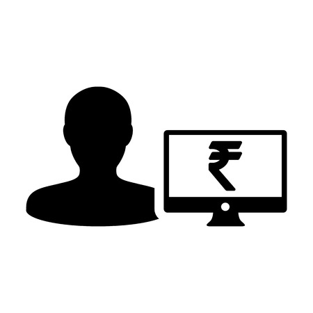 Currency icon vector male user person profile avatar with computer monitor and Rupee money symbol for banking and finance business in flat color glyph  pictogram illustration