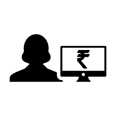 Rupee sign icon vector female user person profile avatar with computer monitor currency symbol for banking and finance business in flat color glyph  pictogram illustration