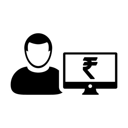 Bank icon vector male user person profile avatar with computer monitor and Rupee sign currency money symbol for banking and finance business in flat color glyph pictogram illustration