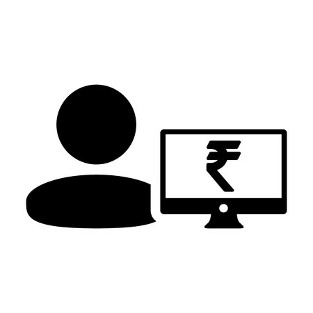 Sales icon vector male user person profile avatar with computer monitor and Rupee sign currency money symbol for banking and finance business in flat  color glyph pictogram illustration