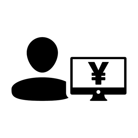 Payment icon vector male user person profile avatar with Yen sign and computer monitor currency money symbol for banking and finance business in flat color glyph pictogram illustration Illustration