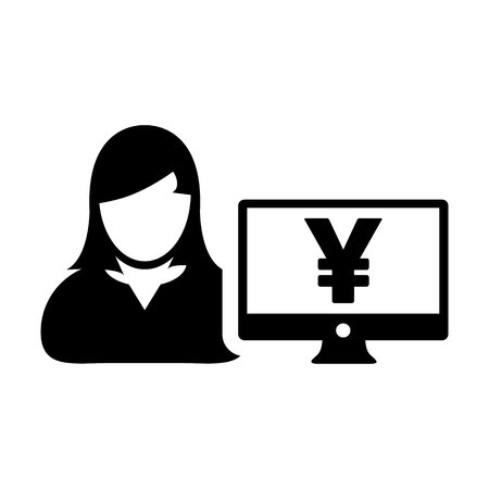 User icon vector female person avatar with Yen sign and computer monitor screen in flat color in Glyph Pictogram Symbol illustration