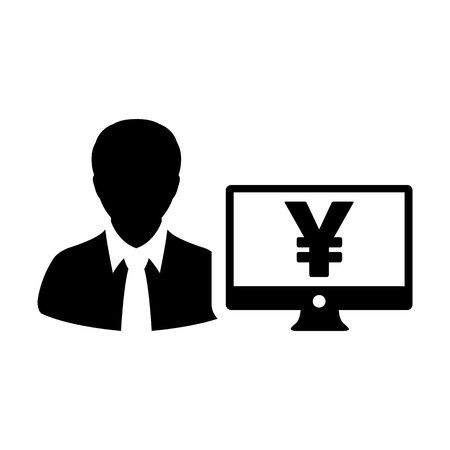 Banking icon vector male user person profile avatar with Yen sign and computer monitor currency money symbol for bank and finance business in flat color glyph pictogram illustration