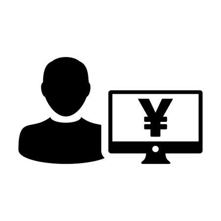 Money icon vector male user person profile avatar with computer monitor and Yen sign currency symbol for banking and finance in flat color glyph pictogram illustration
