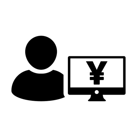 Income icon vector male user person profile avatar with Yen sign and computer monitor currency money symbol for banking and finance business in flat color glyph pictogram illustration