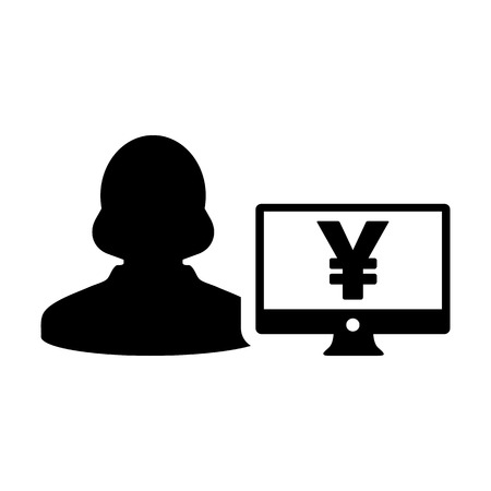 Yen sign icon vector female user person profile avatar with computer monitor currency symbol for banking and finance business in flat color glyph pictogram illustration