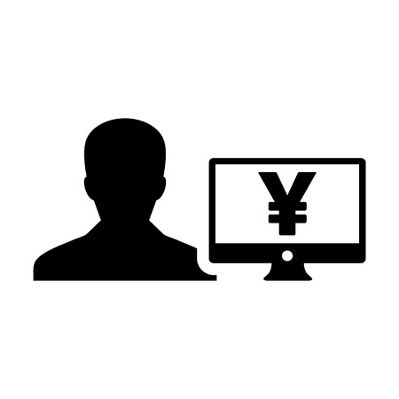 Bank icon vector male user person profile avatar with Yen sign and computer monitor currency money symbol for banking and finance business in flat color glyph pictogram illustration Illustration