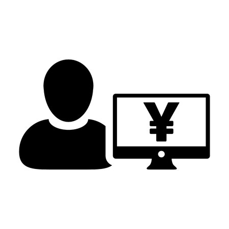 Insurance icon vector male user person profile avatar with Yen sign and computer monitor currency money symbol for banking and finance business in flat color glyph pictogram illustration