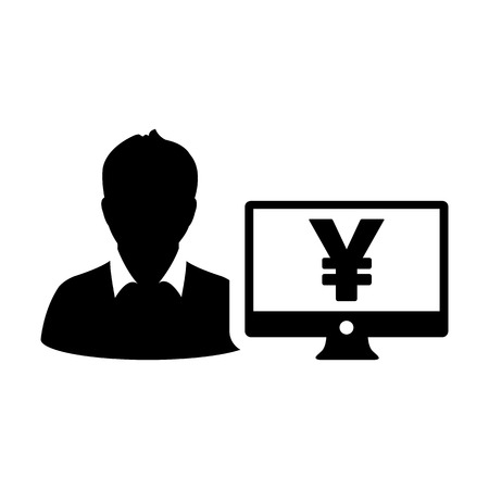 Cash icon vector male user person profile avatar with Yen sign and computer monitor currency money symbol for banking and finance business in flat color glyph pictogram illustration Illustration