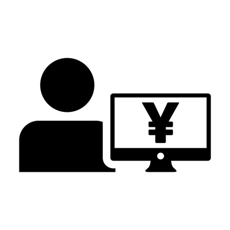 Loan icon vector male user person profile avatar with Yen sign and computer monitor currency money symbol for banking and finance business in flat color glyph pictogram illustration
