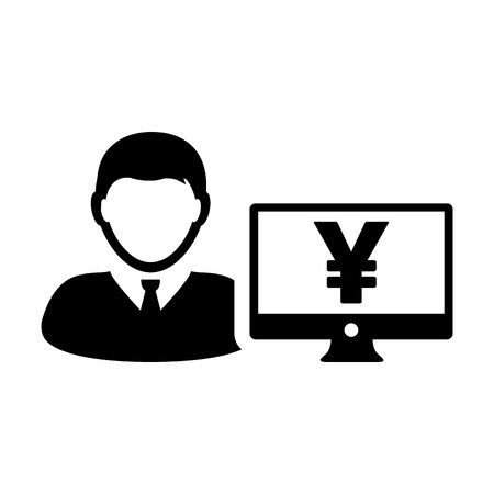 Avatar icon vector male user person with Yen sign and computer monitor screen in flat color in Glyph Pictogram Symbol illustration