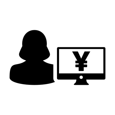 Bank icon vector female user person profile avatar with Yen sign and computer monitor currency money symbol for banking and finance business in flat color glyph pictogram illustration Illustration