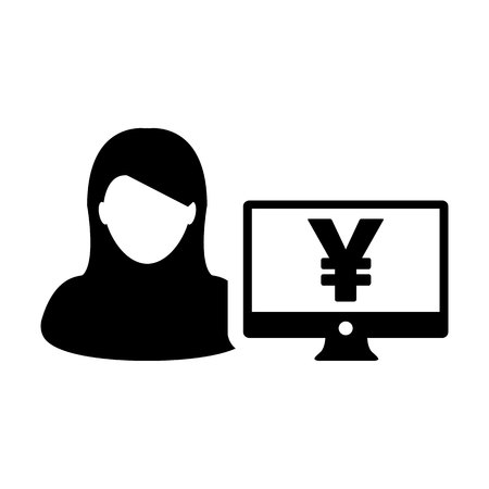 Cash icon vector female user person profile avatar with Yen sign and computer monitor currency money symbol for banking and finance business in flat color glyph pictogram illustration Illustration