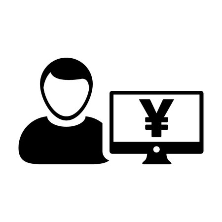 Currency icon vector male user person profile avatar with computer monitor and Yen money symbol for banking and finance business in flat color glyph pictogram illustration
