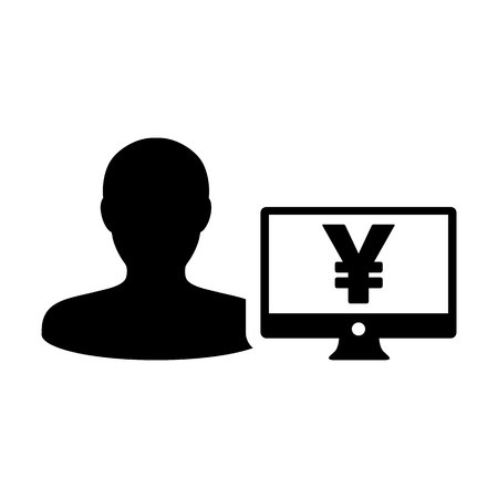 Business icon vector male user person profile avatar with Yen sign and computer monitor currency money symbol for banking and finance business in flat color glyph pictogram illustration