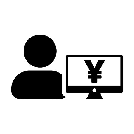 Sales icon vector male user person profile avatar with Yen sign and computer monitor currency money symbol for banking and finance business in flat color glyph pictogram illustration