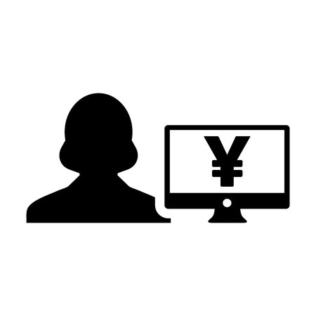 Avatar icon vector female user person with Yen sign and computer monitor screen in flat color in Glyph Pictogram Symbol illustration Illustration