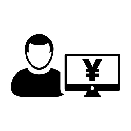 User icon vector male person avatar with Yen sign and computer monitor screen in flat color in Glyph Pictogram Symbol illustration Illustration