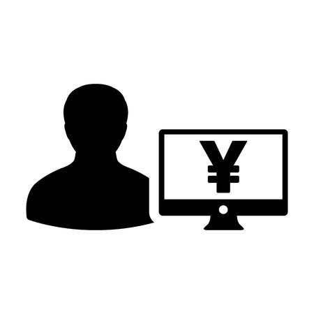 Funding icon vector male user person profile avatar with Yen sign and computer monitor currency money symbol for banking and finance business in flat color glyph pictogram illustration