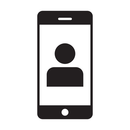 Application icon vector male person profile avatar with mobile symbol for communication in glyph pictogram illustration