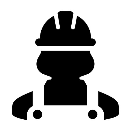 Safety worker icon vector female construction service person profile avatar with hardhat helmet and jacket in glyph pictogram illustration Vettoriali