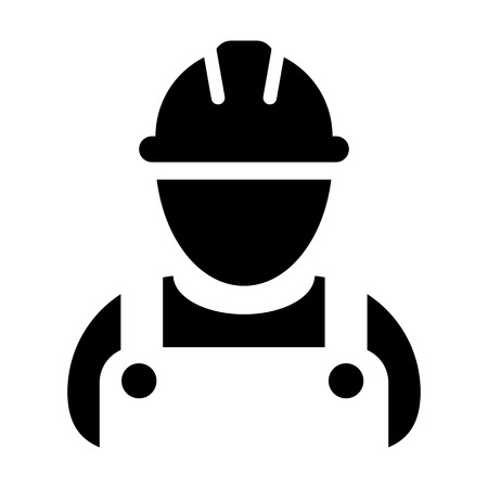 Service worker icon vector male construction service person profile avatar with hardhat helmet and jacket in glyph pictogram illustration