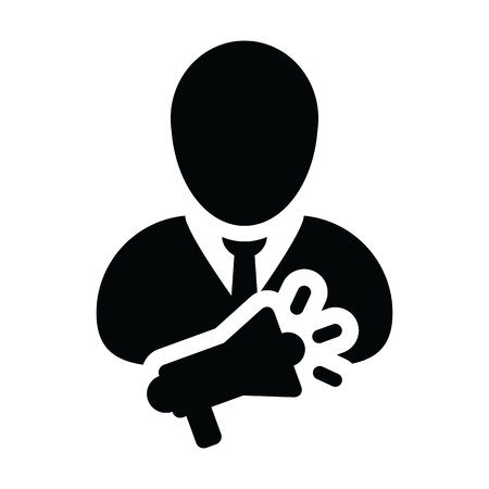 Marketing icon vector male person profile avatar symbol with megaphone for advertising campaign in glyph pictogram illustration