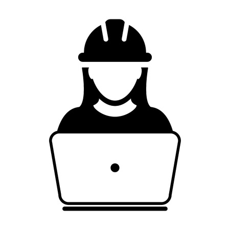 Construction worker icon vector female service person profile avatar with laptop and hardhat helmet in glyph pictogram illustration Vettoriali