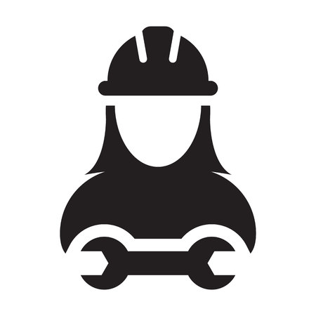 Worker icon vector female construction service person profile avatar with hardhat helmet and wrench or spanner tool in glyph pictogram illustration Vectores