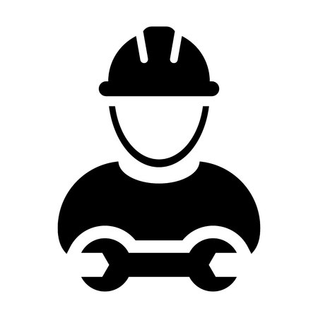 Worker icon vector male construction service person profile avatar with hardhat helmet and wrench or spanner tool in glyph pictogram illustration Vectores