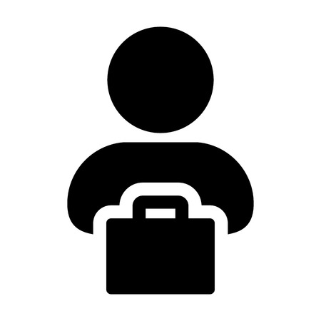 Sale icon vector male person profile avatar with shopping bag symbol for retail business and commerce in flat color glyph pictogram illustration Illustration