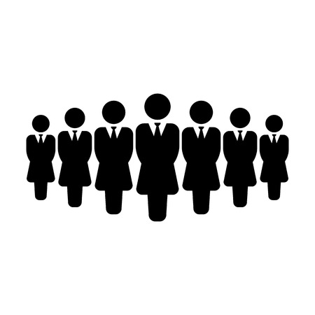 Leader icon vector female group of persons symbol avatar for business management team in flat color glyph pictogram illustration