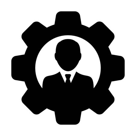 Service icon vector male user person profile avatar with gear cogwheel for settings and configuration in flat color glyph pictogram illustration Illustration