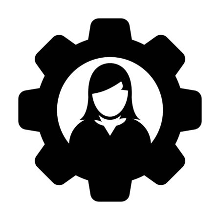 User icon vector female person profile avatar with gear cogwheel for settings and configuration in flat color glyph pictogram illustration