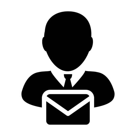 Mail icon vector male user person profile avatar with envelope symbol for communication in glyph pictogram illustration Illustration