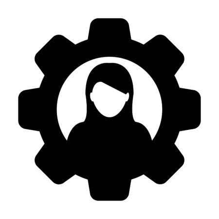 Icône de configuration vector avatar profil de personne de sexe féminin avec roue dentée pour les paramètres en illustration de pictogramme glyphe de couleur plate Vecteurs
