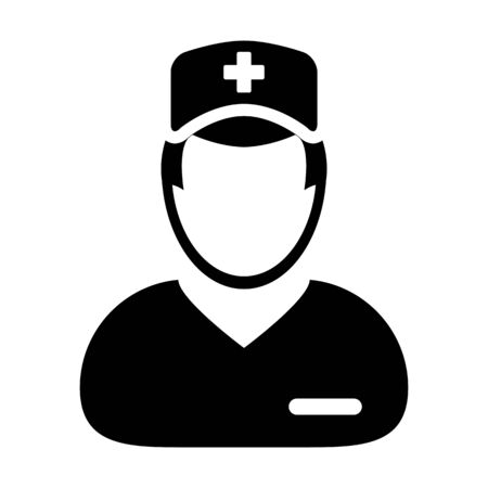 Surgeon icon vector male person profile avatar with a stethoscope for medical treatment in a glyph pictogram illustration