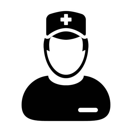 Medical consultant icon vector male person profile avatar with a stethoscope for treatment in a glyph pictogram illustration