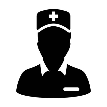 Medical attendant icon vector male person profile avatar with a stethoscope for consultation in a glyph pictogram illustration Фото со стока - 132154438