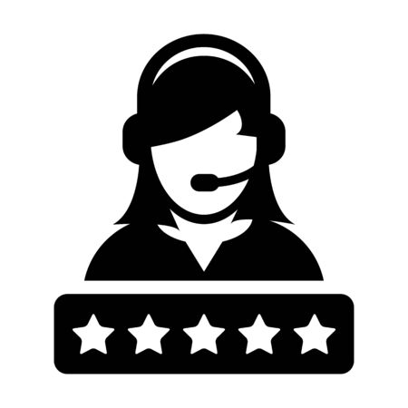 Customer service icon vector female support person profile avatar with a headphone and a star rating for online assistant in glyph pictogram illustration Фото со стока - 132156191