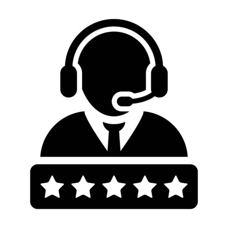 Grade icon vector male support customer care service person profile avatar with a headphone and a star rating for online assistant in glyph pictogram illustration Фото со стока - 132156698