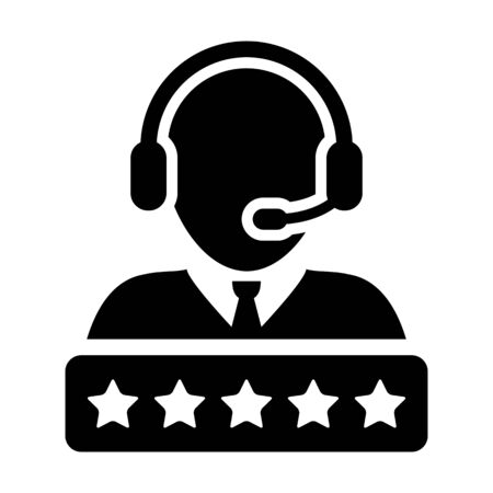 Rank icon vector male support customer care service person profile avatar with a headphone and a star rating for online assistant in glyph pictogram illustration