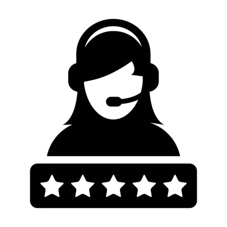 Call center icon vector female support customer service person profile avatar with a headphone and a star rating for online assistant in glyph pictogram illustration Фото со стока - 132156450