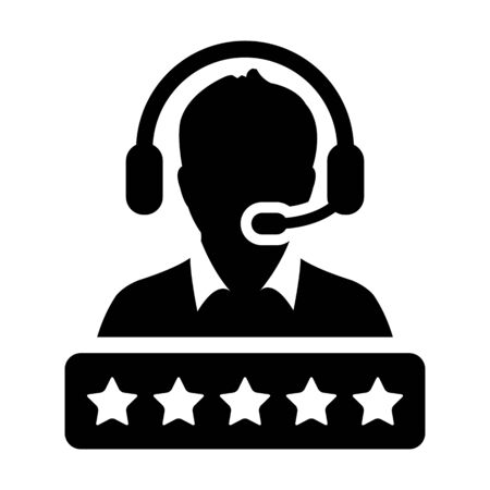 Call center icon vector male support customer service person profile avatar with a headphone and a star rating for online assistant in glyph pictogram illustration